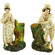 REDUCED JACOB PETIT  Signed Porcelain Pair Of Figural Scent Bottles