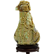 Antique Chinese Carved Iridescent Opal Magnum Snuff Bottle In High Relief.  .