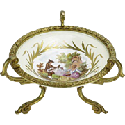 REDUCED Antique Signed Sevres Style Porcelain Dish With Bronze Ormolu Mounts, Fragonard