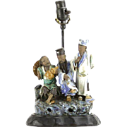 REDUCED Multi-Figural Mudmen Mounted on Wooden Base, Made Into A Lamp