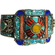 SALE PENDING Turquoise, Coral  And Other Stones Inlaid In This Tibetan Clasp Bracelet