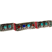 REDUCED Beautiful Vintage Tibetan Bracelet Inlaid With Turquoise, Coral and Other Stones