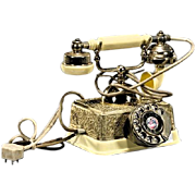 REDUCED Vintage Canary Yellow Rotary Dial Phone, Made in Singapore, Ornate Gold Embellishments