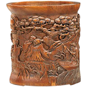 REDUCED Large Chinese Carved Bamboo Brushpot