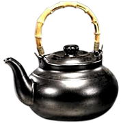 REDUCED Large Chinese Glazed Stoneware Teapot With Bamboo Handle