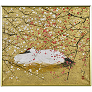 Original Signed Japanese Painting on Paper of a Crane Surrounded By Cherry Blossoms