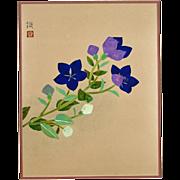 Original Signed Japanese Painting - Purple Balloon Flowers On A Stem