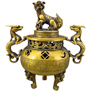 REDUCED Handmade Chinese Brass Incense Burner, Dragon Handles and Cover, Qianlong Mark