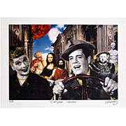 "NELSON DE LA NUEZ  Very Rare Collage Print Titled ""European Vacation"", Ink Signed an"