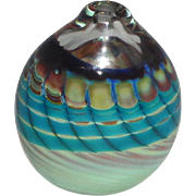 Beautiful Signed Art Glass Paperweight or Cabinet Vase With Swirls And Designs In Turquoise ..