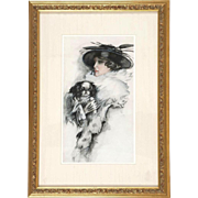 Original Signed American School - Portrait of a Woman With  Her Dog (Shih Tsu, Cavalier King .