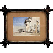 Original European Coastal Scene Watercolor With Mother And Child Seated On A Doorstep