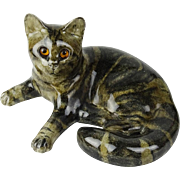 Vintage Winstanley Large Cat With Glass Eyes, by Mike Hinton, Artist Signed