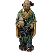 Unusual Chinese Standing Mudman With Bottle Gourd (Symbol of Longevity and Good Luck) and Palm