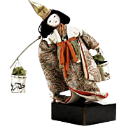 REDUCED Vintage Japanese Porcelain Doll Dressed in Kimono With Wooden Yoke Carrying Two Basket
