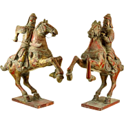 PAIR of Very Old Large Chinese Polychromed Carved Wood Warriors On Horseback