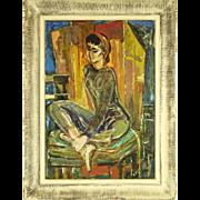 "Cubist School Signed Original Oil On Canvas ""Reverie"""
