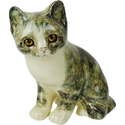 Vintage Winstanley Cat With Glass Eyes, by Mike Hinton, Artist Signed