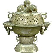 Chinese Well-Carved and Reticulated Jade Covered Sensor with Chilong Finial and Dragon with Ri