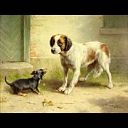 "CARL REICHERT ((Austria 1836 - 1918)  - Original Signed Oil On Board ""Spaniel and Dachshu"