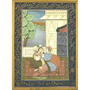 Hand-Painted Persian Courting Scene On Silk, Framed