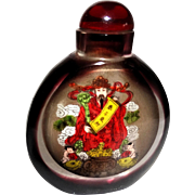 REDUCED Inside Painted Red Snuff Bottle, Two Different Scenes