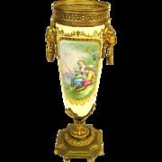 Antique Sevres Bronze Mounted Hand-Painted Porcelain Urn, Artist signed.