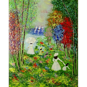 """Enamel on Copper Painting """"Figures By The Lake""""  - Signed"""