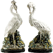 REDUCED Large Signed Pair Of Renowned FREEMAN LEIDY Hand-Painted Majolica Mid 20th Century Bir