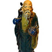 Unusual Chinese Mudman With Staff, Bottle Gourd and Peach