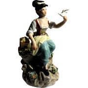 "REDUCED Capo-Di-Monte Signed Porcelain ""Girl With Bird"""