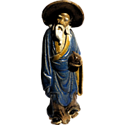 Chinese Standing Mudman Sage Holding A Peach (Symbolizing Long And Healthy Life)