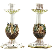 REDUCED Capodimonte Pair Multi-Figural Porcelain Candlesticks
