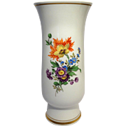 REDUCED Meissen Porcelain Vase - Exquisite Flowers Hand-Painted By The Premier German Manufact