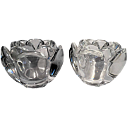 ROYAL COPENHAGEN Fine Danish Crystal PAIR Of Lovely Matched 'Lotus' Vases Or Holders For Table