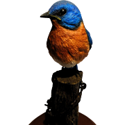 REDUCED Signed Richard Lamson Hand-Painted Bird Sculpture - 'Robin'