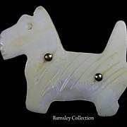Vintage Mother of Pearl Terrier Pin Brooch