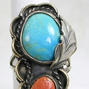 Vintage Native American Turquoise and Coral Silver Ring