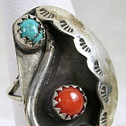 Vintage Native American Old Pawn Turquoise and Coral Silver Ring