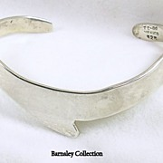 Signed Mexico Sterling Silver Chevron Design Cuff Bangle Bracelet