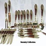 Vintage Siam Silver Set of 8 Cutlery Set with Serving Pieces