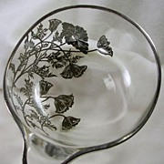 SALE Glass and Silver Plated  Bowl