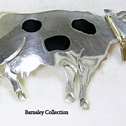 """Vintage """"Old TAXCO"""" Sterling Silver Pin, Brooch, Pendant Jersey Cow with Brass Moving Bell"""