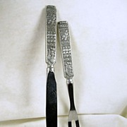 Vintage Norwegian Pewter Carving Set with Stainless Steel Blade and Tines