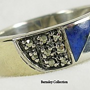 Vintage 14K Sterling Silver Marcasite and Lapis Band Ring