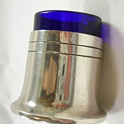 Silver Plated Salt Jar with Cobalt Blue Glass Liner – c. 1934