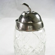 Vintage Cut Glass Mustard Jar with Silver  Plated Hinged Lid