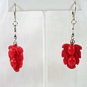 SALE Vintage Carved Red Coral Earrings Pendant in Sterling Silver