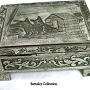 Vintage Silver Plated Scottish Terrier Casket / Trinket Cedar Box