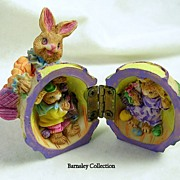 Collectible Easter Egg with Brass Hinges and Baby Bunnies on the Inside